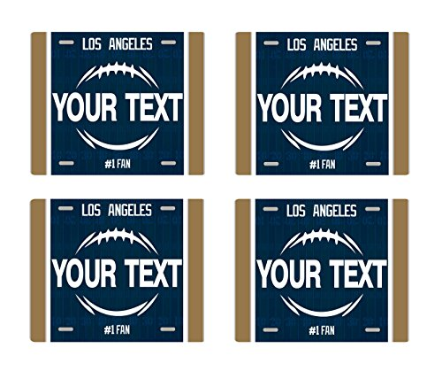 Wood St Louis Rams Football (BleuReign(TM) Personalized Custom Name Football Team Los Angeles License Plate Set of 4 Square Coasters)