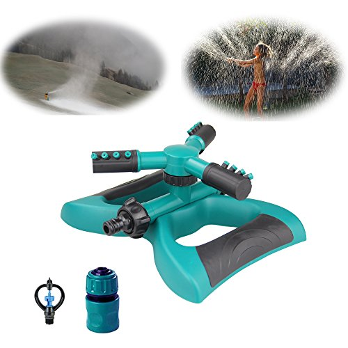 HCNOCNB Lawn Sprinkler, Garden Sprinkler 360¡ã Automatic Rotating Adjustable Watering Sprinkler Lawn Irrigation System,With 3 Arms Sprayer, Cover Large Area, Easy Eose Connection.