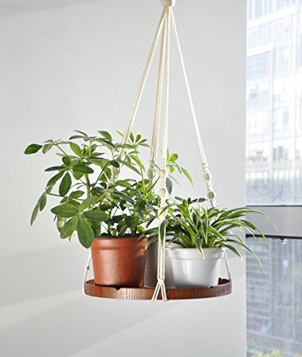 Macrame Woven Wall Hanging Plant Hanger With Wood Planter