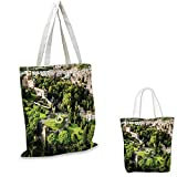 "Italian small clear shopping bag Vatican Gardens European Historic Landmark with Famous Monument Picture Print sloth shopping bag Tan White Green. 14""x16""-11"""