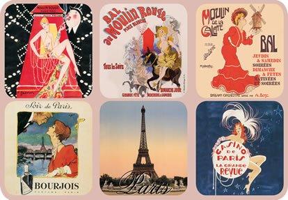 Moulin Rouge Casino - Set of 6 New Cork Back Coasters Paris Scenes Moulin Rouge Eiffel Tower Casino