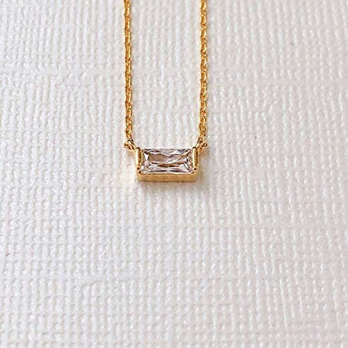 Gold Solitaire Dainty Necklace, Baguette Necklace, Delicate Necklace, Simple Necklace, Layered Necklace, Everyday Necklace, Gold Necklace, Minimalist Jewelry, Bridesmaid Gift.