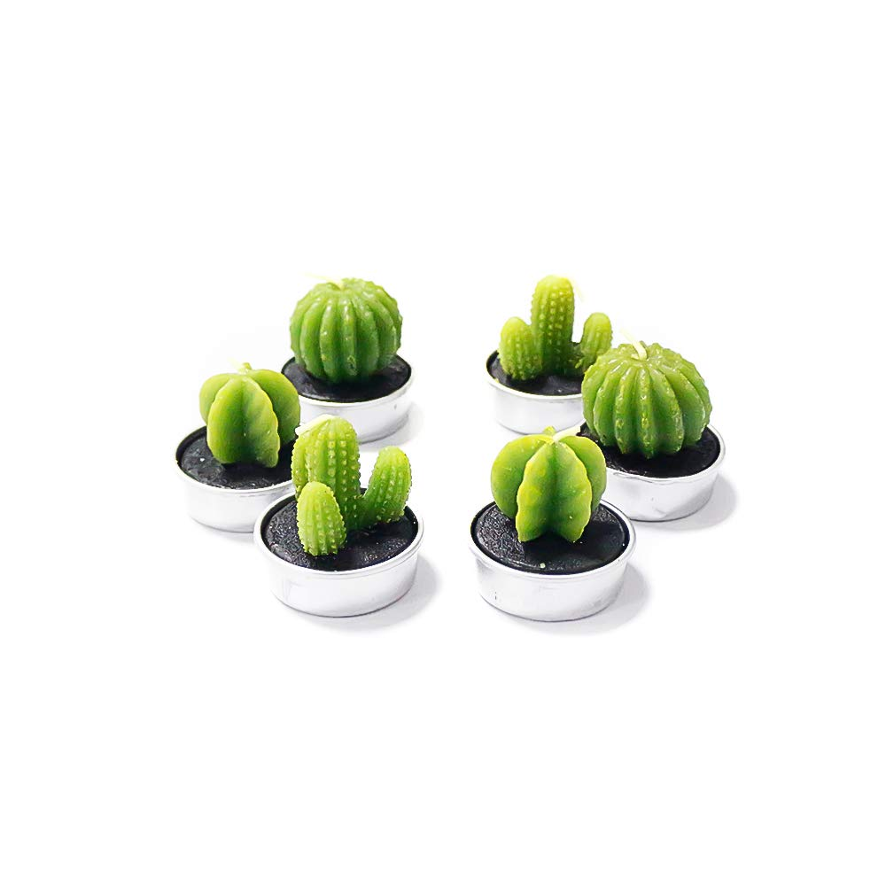 Justmeetyou Mini Cactus Candles,Tealight Candles,Handmade Plant Candles for Home Party Wedding Decorative, 3 Styles - Pack of 6