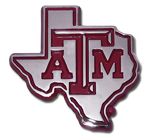 Texas A&M Aggies METAL Auto Emblem with Maroon Trim in Shape of ()