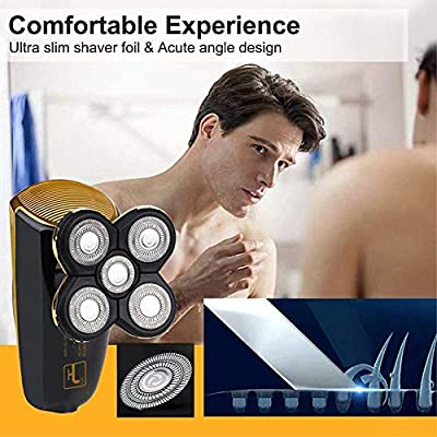 Ylmhe 2 in 1 Men's Bald Head Shaver, Cordless Electric Wet and Dry Waterproof Rotary Shavers with 5 Floating Head for Man Travel or Home