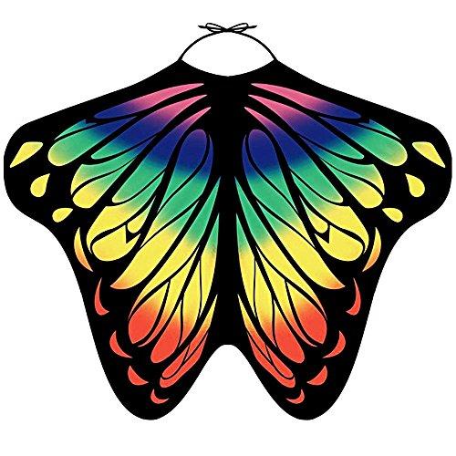 LIVEBOX Women's Swimwear Bikini Beach Cover Ups Butterfly Wings Shape Chiffon Sarong Pareo Scarf Swimsuit Shawl Wraps (Rainbow Cape)