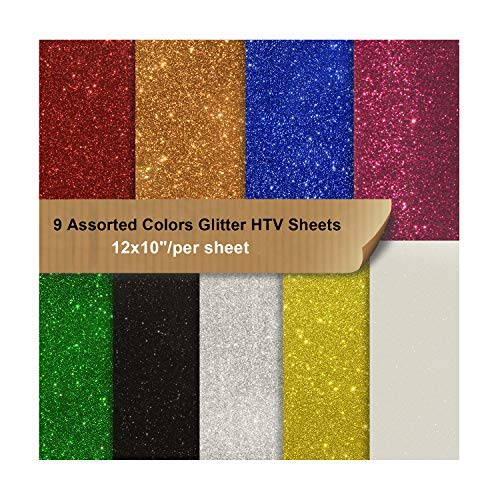 Heat Transfer Glitter Vinyl Pack Bundle 9 Assorted Colors Iron on Vinyl Sheets 12x10 for Cameo for DIY Shirt and Garment Decoration