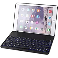 iPad Air 2 Keyboard Case, Steven F8S+ Slim/ Aluminum Alloy Buttom Bluetooth Keyboard with 7 Colors LED Backlight for iPad Air 2 (Black)