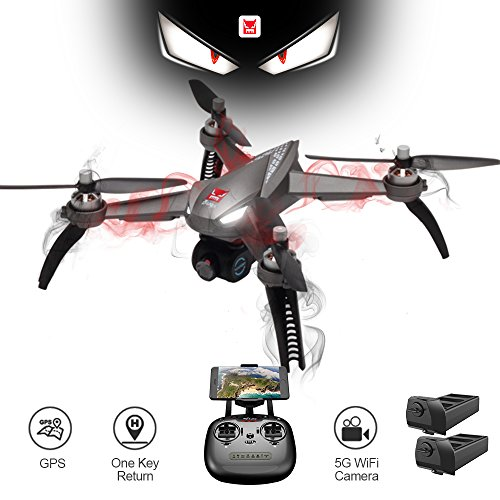 XFUNY MJX B5W Bugs 5W RC Quadcopter 1080P 5G WiFi Camera Live Video 2.4GHz Remote Control Aircraft 6-Axis Gyro FPV Drone with GPS Return Home, Altitude Hold, Follow Me, 2 Battery (Gray)