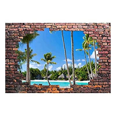 Magnificent Visual, Large Wall Mural Tropical Seascape Viewed Through a Broken Brick Wall 3D Visual Effect Vinyl Wallpaper Removable Decorating, Top Quality Design