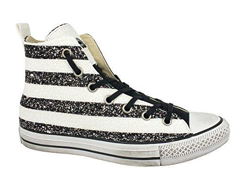 Converse all star hi canvas/textile ltd S&B black/white glitter 1C15H003 tg. 37
