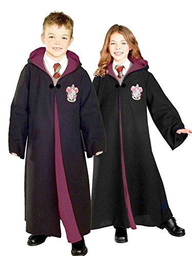 La bata de disfraces de Harry Potter para niño de Rubie de Costume Co con el emblema de Gryffindor, pequeña con varita de Harry Potter con lig