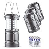 LED Camping Lantern - Zukvye 4 Pack Collapsible LED Camping Lantern with 16 AA Batteries-Magnetic Base,400 Lumens , suitable Survival Kit for Emergency, Hurricane, Power Outage (Gray,Portable )