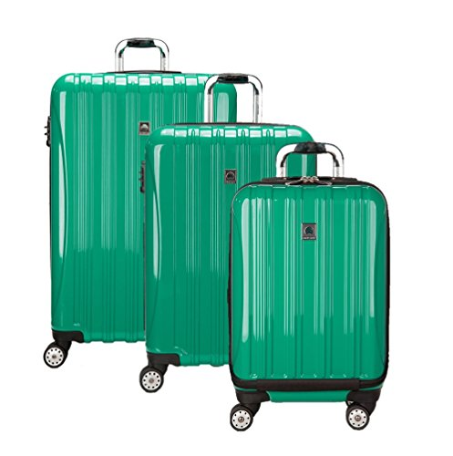 Price comparison product image Delsey Luggage Aero 3 Piece Polycarbonate Hardside Spinner Set, Emerald Green