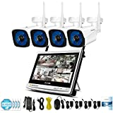 Jennov Security Camera System Wireless, 1080P Wireless Security System 12 Monitor With 960P 4 Channel IP WIFI Camera Outdoor Night Vision Plug and Play Home Video Surveillance (No Hard Drive)