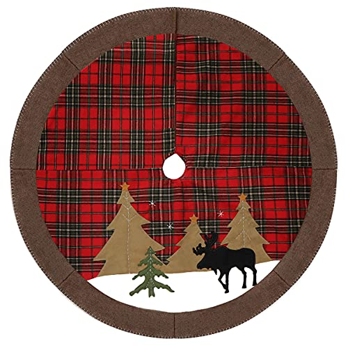 SEKKVY Christmas Tree Skirt, 44 Inch Large Snowflake Reindeer Knitting Christmas Tree Skirt, Merry Christmas Happy New Year Holiday Outdoor Indoor Festival Supermarket Decorations