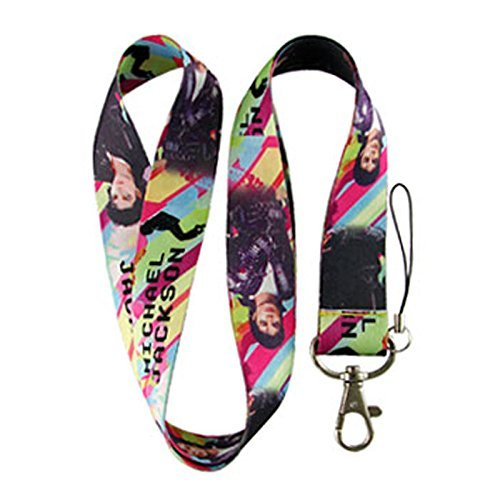 Michael Jackson Rainbow Lanyard Key Holder Lanyard Keychain Holder