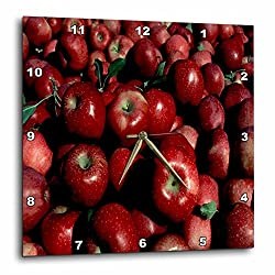 3dRose dpp_17315_1 Wall Clock, Red Apples, 10 by 10-Inch