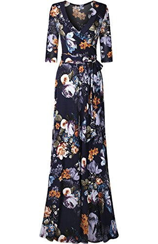 Bon Rosy Women's 3/4 Sleeve V-Neck Floral Printed Maxi Wrap Dress Navy Floral XL