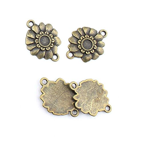 (140 Pieces Jewelry Making Charms Sunflower Connector retro vintage supply bulk antique)