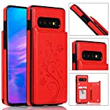 Back Wallet Case for Samsung Galaxy S10 with Stand,QFFUN Elegant Embossed Design [Butterfly Flower] Lightweight Slim Fit Leather Phone Case with Card Holder Protective Bumper Flip Cover - Red