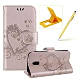 Herzzer PU Leather Case for Galaxy J3 2018,Strap Magnetic Wallet Folio Cover for Galaxy J3 2018, Elegant Slim Gold [Love Hearts Flower Embossed] Stand Phone Case