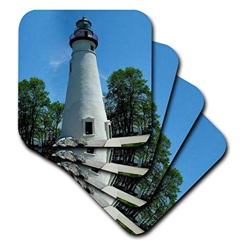 3dRose cst_61708_2 Marblehead Lighthouse Looking Over Lake Erie-Soft Coasters, Set of ()