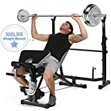 Strength Training Olympic Weight Benches for Full Body Workout – Adjustable Olympic Weight with Preacher Curl, Leg Developer for Indoor Exercise (US Stock)