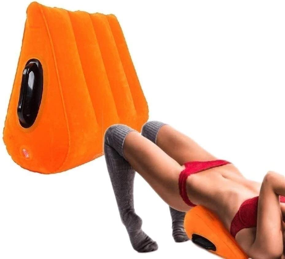 Deep Pẹnẹtrạtion Six Wedge Couches Pillows for Position Māssāge Yoga Ádǚlt Relax Body Stylish Chic Orange Penetrating Equipment Sax Furniture Inflatable Support Pillow with Handles Seex Cushion for Cő