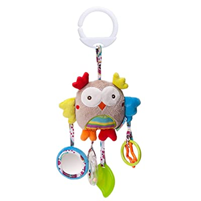 Baby Toys Hanging Rattle Crinkle Squeaky Educational Toy Infant Newborn Stroller Car Seat Crib Travel Activity Plush Owl Shape Wind Chime with Teether : Baby