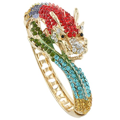 EVER FAITH Women's Austrian Crystal Cool Animal Fly Dragon Bangle Bracelet Multicolor - Bracelet Crystal Cuff Austrian
