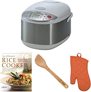 Zojirushi NS-YAC18 Umami Micom 10-Cup (Uncooked) Rice Cooker and Warmer, Pearl White Includes Spatula, Oven Mitt and Cookbook Bundle (4 Items)