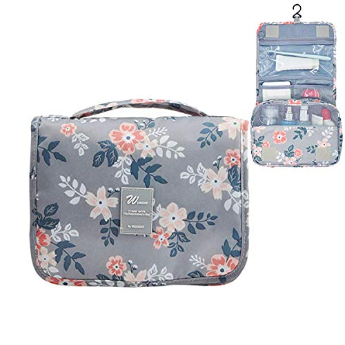 Hanging Toiletry Bag Cosmetic Travel Wash Bag Portable Makeup Pouch Hygiene Bathroom Organizer Kit for Women&Girls(Hanging Toiletry Bag Light Grey Flowers)