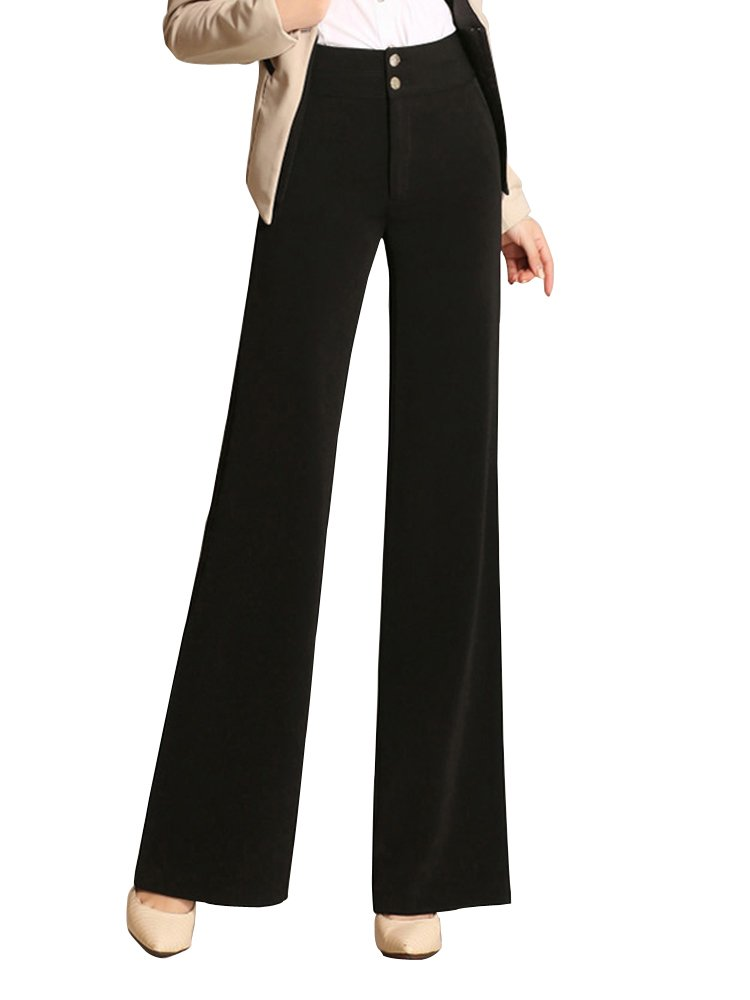 Women's High Waist Boot-Cut Pants Palazzo Pants Slacks Office Work Wide Leg Suit Pants Black Tag 27-US 0