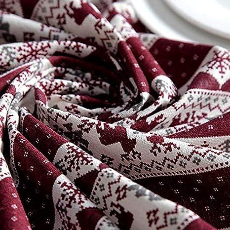 Algod/ón 60X60CM Fucsia Vi.yo Mantel Rectangular de Navidad Decoraci/ón Camino de Mesa Adorno para Fiesta Casa Hotel