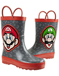 Brothers Mario and Luigi Rain Boot for Kids, Nintendo, 100% Rubber, Waterproof, Ages 2 to 10
