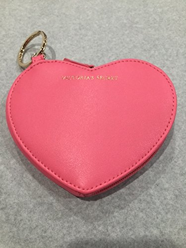 - Victoria's Secret Heart Shape Zip Key Ring Coin Pouch Pink
