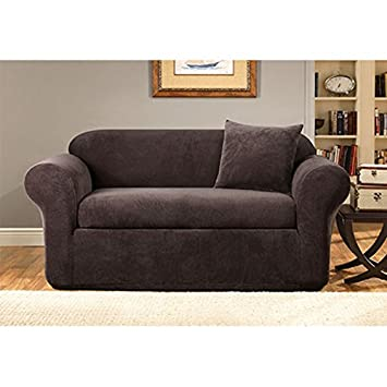 Sure Fit Stretch Metro 2 Piece   Sofa Slipcover   Espresso (SF39419)