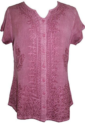 Agan Traders 144 B Medieval Boho Embroidered Top Blouse (3X, Dusty - Chemise Embroidered Womens