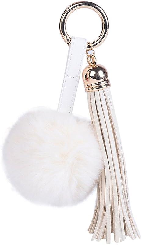 Women Keyring Soft Fur Ball Tassel Pendant Charm Pompom Keychain Ornaments T