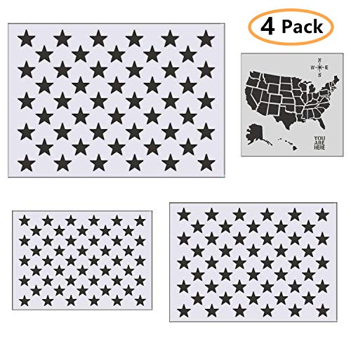 ONEST 4 Pieces Star Stencil 50 Stars American Flag Template and United States Map Template for Painting on Fabric - Airbrush - Wood - Reusable Mylar Stencil with Multiple Sizes Available