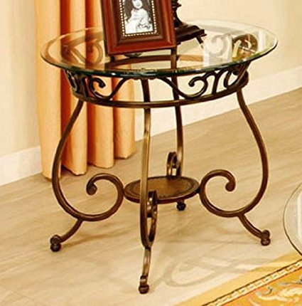 End Table with Glass Top and Metal Frame