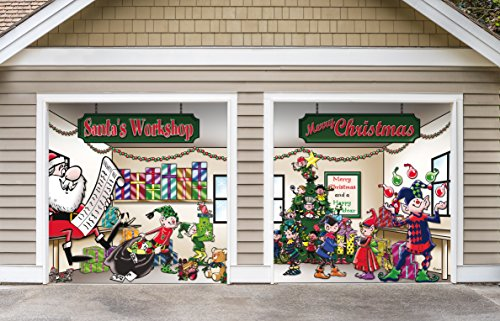 Outdoor Christmas Holiday Garage Door Banner Cover Mural Décoration - Santa's Workshop - Outdoor Holiday 2 Car Split Garage Door Banner Décor Sign , Two 7'x 8' Graphic Kits (Halloween Decorations For Garage Door)