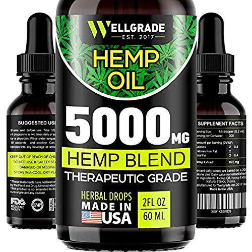 - Hemp Oil for Anxiety Relief - 5000 MG - Premium Seed Grade - Natural Hemp Oil for Better Sleep, Mood & Stress - Improve Health - Vitamins & Fatty Acids - Made in The USA