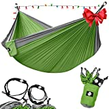 Legit Camping - Double Hammock - Lightweight Parachute Portable Hammocks for Hiking , Travel , Backpacking , Beach , Yard . Gear Includes Nylon Straps & Steel Carabiners (Grey/Lime Green)