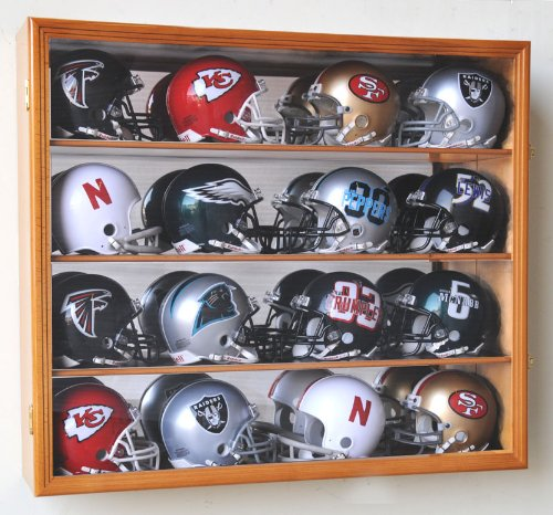 Riddell Mini Helmet Display Case Cabinet Wall Rack w/UV Protection & Mirror Back -Oak ()