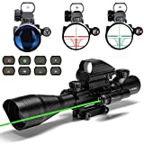 Cheap Aibay Rifle Scope 4-12x50EG Red and Green Dot Sight with Integrated Green Laser with Flip Up Lens Caps