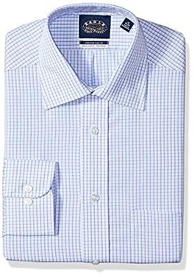 Eagle Men's Non Iron Stretch Spread Collar Regular Fit Plaid Dress Shirt