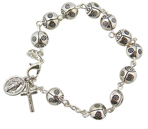 (CB Silver Tone Virgin Mary Ladybug Prayer Bead Rosary Bracelet, 7 3/4 inch)