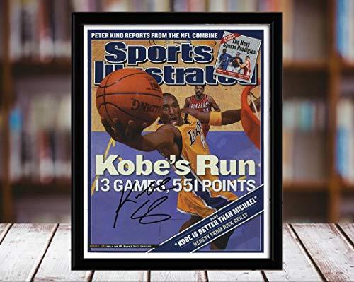 (Kobe Bryant Sports Illustrated Autograph Replica Print - Kobes Run - Los Angeles Lakers - 3/3/3-8x10 Desktop Framed Print)